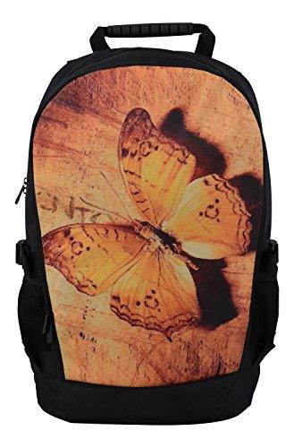 Rucksack für Jungen Mädchen Damen Herren Kinder - Schulrucksack Schulranzen, Ranzen für die Schule - Backpack für die Stadt/zum Sport für Kinder & Jugendliche - Cooles Design - Golden Butterfly
