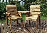TouCan Hammocks 2 Seater Love Seat Handmade <span class='highlight'>Wooden</span> Chairs <span class='highlight'>Garden</span> Chair Set Rustic Companion Seats <span class='highlight'>Chunky</span> with Tray Table