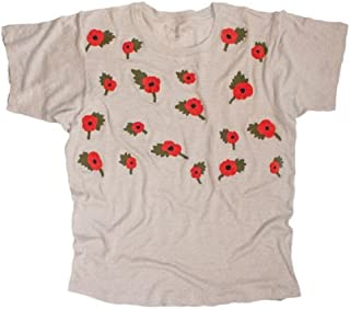 Embroidered Poppies Floral Linen Tee