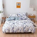 BH-JJSMGS Bedrucktes Marmormuster reversibler Design-Leichter Bettbezug aus Mikrofaser mit Reißverschluss, Bettwäsche und Kissenbezug, US-Queen228 * 228 cm (dreiteiliges Set) -blau