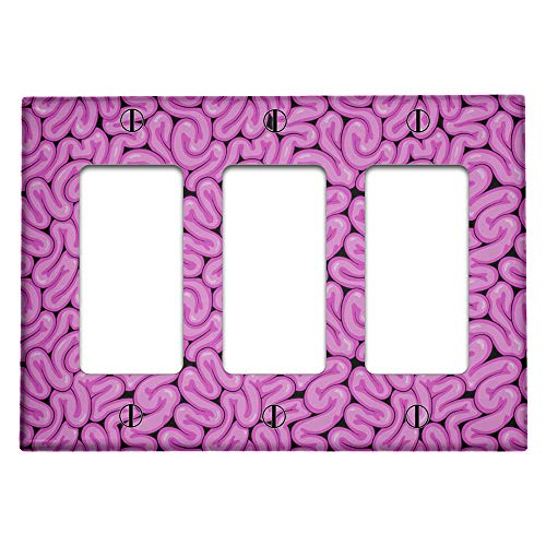 Triple 3 Gang Rocker (Decora/GFCI Device) Decorative Switch Wall Plate Cover (Brains Works Pattern)