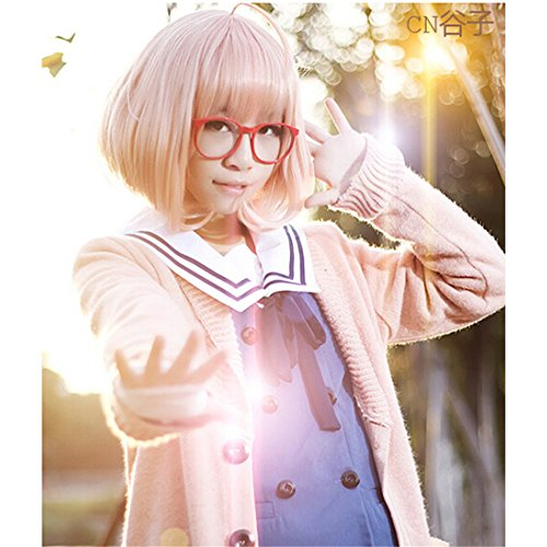 LanTing Cosplay Perücke Beyond the Boundary Kyoukai No Kanata Perücke Corta orange Mirai Kuriyama Cosplay Party Fashion Anime Human Costume Full wigs Synthetic Haar Heat Resistant Fiber