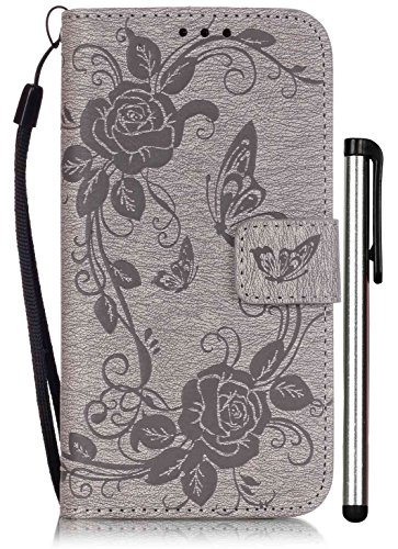 Compatible with Samsung Galaxy S5 Flip Case Luxury Grey Leather Wallet Full Body Magnet Book Cover Cell Phone Accessories Stand Credit Card Cash Slot Wrist Strap Handmade Embossed Butterfly Flower