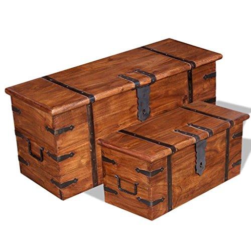 Lingjiushopping Lot de 2 boîtes de rangement en bois massif Matériau : bois massif avec finition couleur miel et traitement sheesham et palissandre pour coffre et coffre.