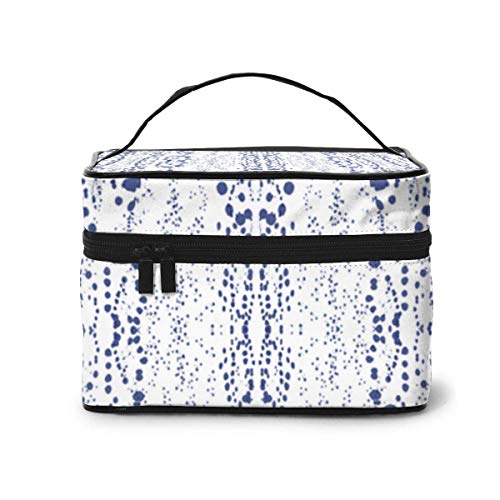Vanity et Trousses à Maquillage Blue Dots Blue Dalmatian Print Fabric (2338) Pattern Portable Travel Makeup Cosmetic Bags Organizer Makeup Boxes