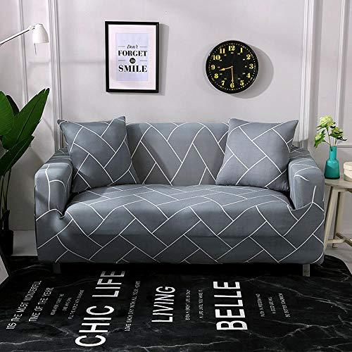 Funda Sofá 190-230 cm con Funda de Cojín de 3 Piezas 45x45 cm (Pack de 4), Poliéster Stretch Cubre Sofá Funda Protector Antideslizante Sofa Couch Cover (Rayas Grises/3 Asientos)