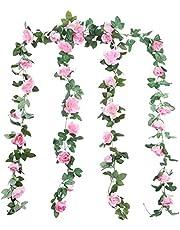 winkong 人工観葉植物 造花 人工バラ花藤 壁掛け インテリア ホーム オフィス ベランダ 花園 婚礼の儀式 装飾