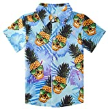 Teen Boys Hawaiian Luau Shirts Size 5 3D Printing Funny Ananas Glass Pineapple Aloha Tops Summer Beach Juniors Short Sleeve Party Tees Novelty Apparel for Camp Holiday Casual