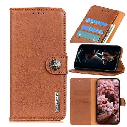 GUODONG Carcasa de telefono para Motorola E7 Cowhide Texture Horizontal Flip Funda de Cuero con Soporte y tragamonedas y Billetera Funda Trasera para Smartphone (Color : Brown)