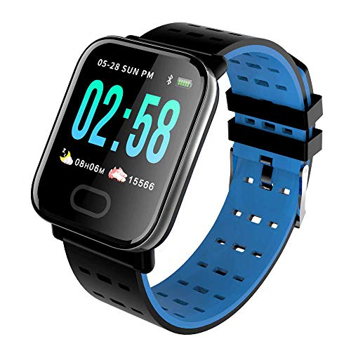 KawKaw Smartwatch Generation X Für Damen Herren & Kinder Mit Fitness Activity Tracker Health Armband Schrittzähler Pulsuhr Wasserdicht Blutdruck - Sport Uhr Für iOS Android & Whatsapp (Blau)