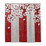 Yushg Badezimmer-Duschvorhänge für Frauen Cherry Spring Flower Girls Badezimmer-Duschvorhang 66 x 72 Zoll maschinenwaschbare wasserdichte Badezimmervorhänge