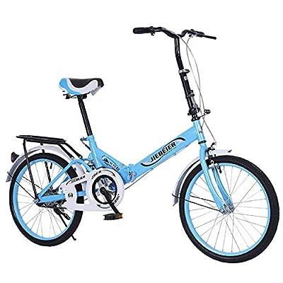 LYBOHO 20inch Folding Bike,Ultra-Light Portable City Folding Bike Bicycle, V Brake, Urban Commuters, Adult Students City Mountain Cycling,Blue ?US Warehouse Shipment?