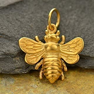 Real Gold Bee Charm • 24k Jewelry • Great for Earrings • Necklace • Bracelet • Pendant • 3/4 Inch Size
