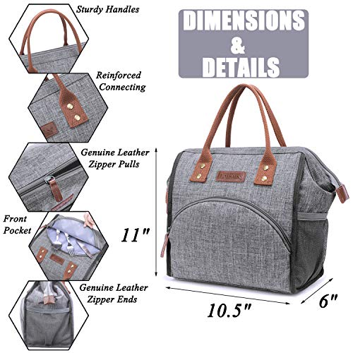 LOKASS-Lunch-Bag-Insulated-Lunch-Box-Wide-Open-Lunch-Tote-Bag-Large-Drinks-Holder-Durable-Thermal-Snacks-Organizer-for-Women-Men-Adults-College-Work-Picnic-Hiking-Beach-Fishing