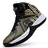 ASHION Boys Basketball Shoes Comfortable Kids Basketball Sneakers Youth Mid-top Slip-on Girls Running Shoes Lightweight Big Little Kids Shoes Indoor Outdoor Size 3 Black Gold