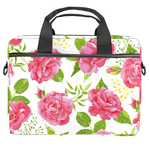 Pink rose () Laptop Bag Case 14-15.6 Inch Computer Sleeve Messenger Bag with Shoulder Strap Expandable Business Briefcase with Tablet Pocket for Men Women Travel School