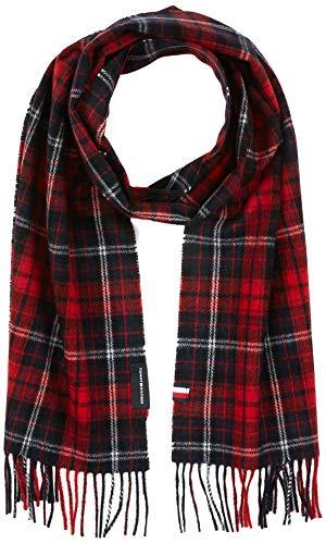 Tommy Hilfiger Herren Uptown Wool Schal, Rot (Red Check), One Size