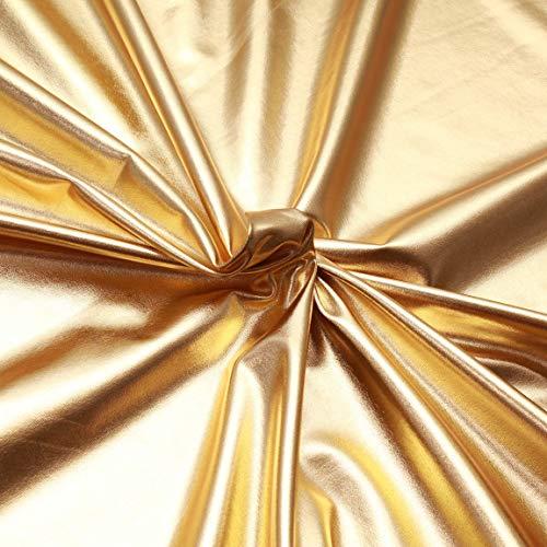 Lycra lisa metálica – 95% poliéster, 5% elastano – Material brillante para ropa de danza, natación, ropa deportiva – por metro dorado