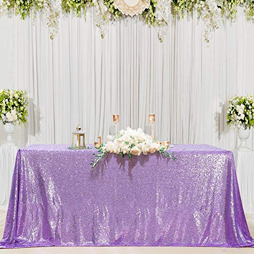 B-COOL Lavender Sequin Tablecloth Lilac Wedding Party Sequin Tablecloth Classy and Elegant Tablecloth for Romantic Event or Banquet 60x102 Inch