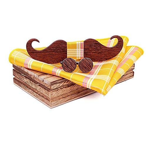 Uteruik - Set di gemelli in legno con papillon e fazzoletto per barba e cravatta da uomo, con confezione regalo (#F)