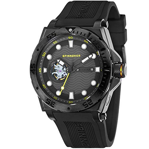 SPINNAKER Men's Overboard 46mm Black Silicone Band Automatic Watch SP-5023-0G