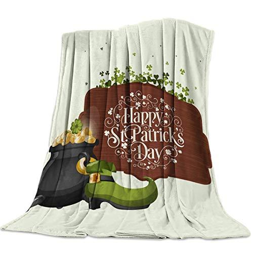 Moily Fayshow Fleece Decke wirft Decke Happy St. Patrick 'S Tag mit Stiefeln und Münze die ganze Saison warme leichte Decken 60' x 50 '
