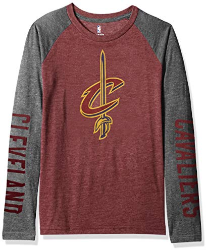OuterStuff NBA by NBA Youth Jungen Raglan-T-Shirt Fadeaway, Jungen, Fadeaway Long Sleeve Raglan Tee, burgunderfarben, Youth Medium (10-12)