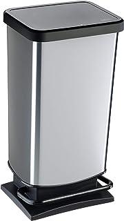 comprar comparacion Rotho Paso, Cubo de basura de 40l con pedal y tapa, Plástico PP sin BPA, plata metálica, 40l 35.3 x 29.5 x 67.6 cm