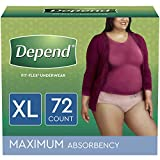 Depend FIT-FLEX Incontinence Underwear for Women, Disposable, Maximum Absorbency, XL, 72 Ct