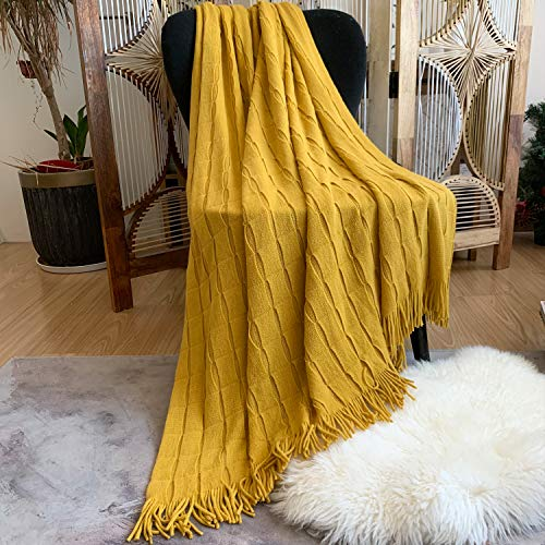 LOMAO Knitted Blanket Super Soft Textured Solid Cozy Plush Lightweight Decorative Throw Blanket with Tassels Fluffy Woven Blanket for Bed Sofa Couch Cover Living Bed Room (Yellow)