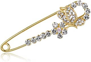N/W Long brooches for Women with Rhinestones Brooch Pin for Women, Girls, Ladies(Gold Color)