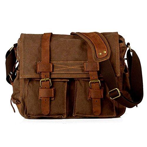 Laptoptasche 17 Zoll Mens Vintage Casual Leinwand Umhängetasche Herren Militär Leder Canvas Reisetasche Crossbody Satchel Schulter Schultasche für Notebook Laptop (Coffe)