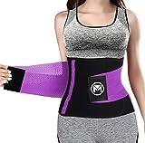 Moolida Waist Trainer Belt for Women Waist Trimmer Weight Loss Workout Fitness Back Support Belts (Purple, Large(31.5'-35.5' Waist))