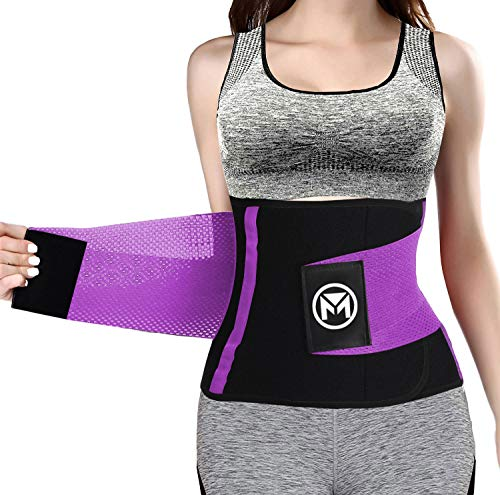 "Waist Trainer Belt for Women Waist Trimmer Weight Loss Workout Fitness Back Support Belts (Purple, Large(31.5""-35.5"" Waist))"