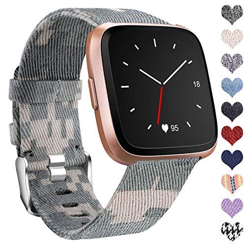 Ouwegaga Compatibile con Fitbit Versa Cinturino/Fitbit Versa 2 Cinturino, Cinturino in Tessuto Sportivo Regolabile per Sostituzione Compatibile con Fitbit Versa Lite, Grande Camo