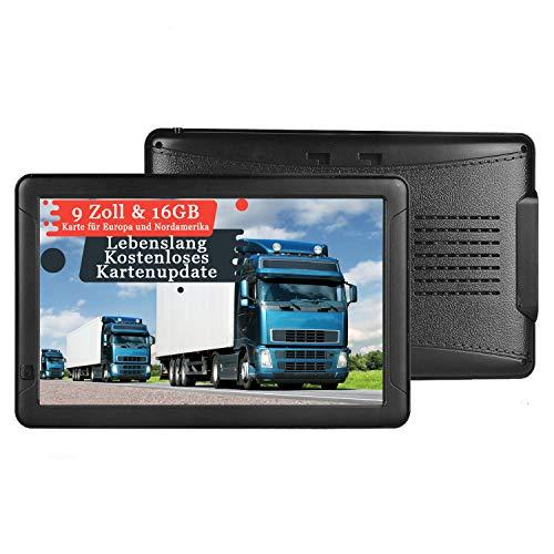 GPS Navigation für Auto, Aonerex 9 Zoll Touchscreen Navigationsgerät für LKW PKW KFZ 16GB 256MB Navi mit POI Blitzerwarnung Sprachführung Fahrspur Lebenslang Kostenloses Kartenupdate EU & Nordamerika