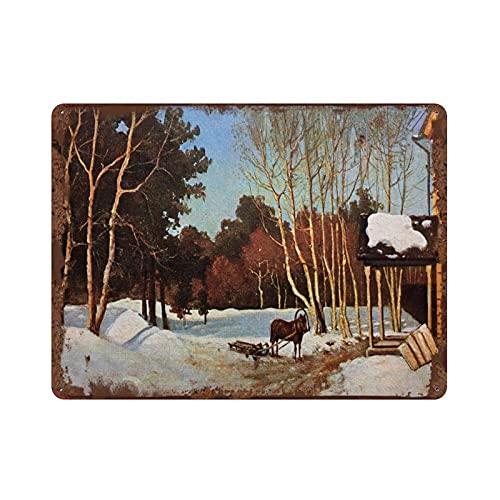 graman Antike Russland Vintage Blechschild 1909s Frühling Russisch März Winter Schnee Pferd Schlitten Russische Ländliche Landschaft Russland Retro Blechschild 30 x 40 cm