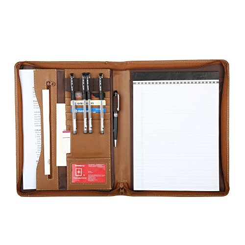 Leathario A4 File Folder Padfolio Writing Pad Business Presentation Folder Portfolio (Brown-A4-2)