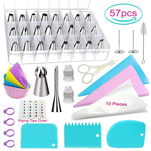 POQOD 57-Piece Cake Decorating Supplies Kits - 26 Stainless Steel Icing Tips Set Silicone Pastry Bags Icing Smoother Piping Nozzles Coupler Flower Nails Lifter for Cakes Cupcakes Cookies Baking Tools