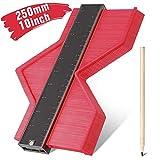 Jauge de contour en plastique,RATEL jauge de profilé règle de mesure de mesure Plastique Contour Jauge pour précision de mesure de carrelage, outil de marquage du bois stratifié(10 inch /250mm) Rouge
