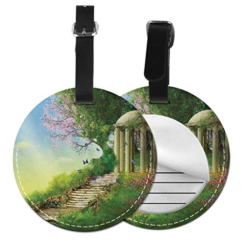 Round Travel Luggage Tags,Gazebo At The Top of A Hill with Stone Stairs and Flowers Magical Medieval Land,Leather Baggage Tag