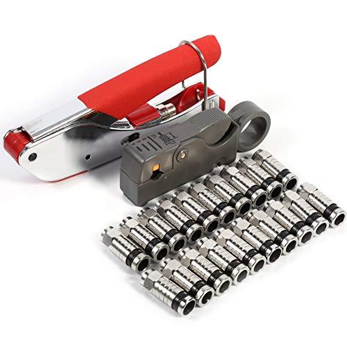 Cocoarm Kompressionszange F Stecker Set Stecker Werkzeug Koax-Kabel Stripper RG58 RG59 RG6 Crimper Koaxialkabel mit 20 stück Kompressions-F-Stecker für SAT Kabel Koaxialkabel