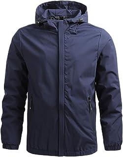 Mens Waterproof Jacket Hooded Sweatshirt Windproof Comfy Casual Outdoor Coat Lightweight Jackets Hoodies with Zip Pockets