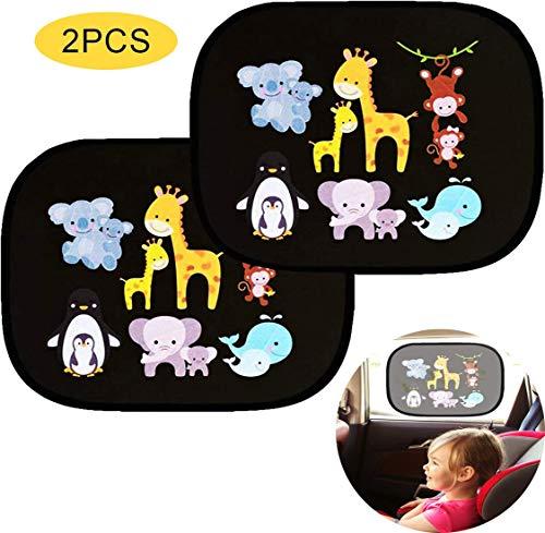 Ventdest Parasol Coche Bebe, Parasol Coche Infantil Lateral, Parasol Coche Trasero para Proteger del Sol a bebés y Mascotas, Bloqueo de Rayos UV Nocivos, Autoadhesivo, Fácil Instalación, 2 Piezas