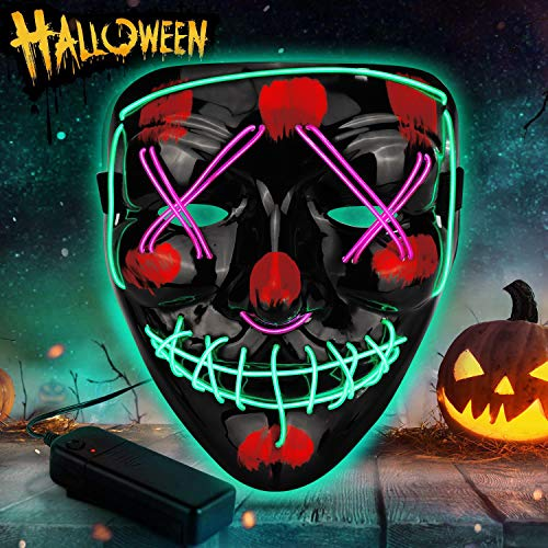 Sinwind LED Purge Maske, Bicolor LED Mask mit 3 Blitzmodi für Party Halloween Fasching Karneval Kostüm Cosplay Dekoration (Grün + lila)
