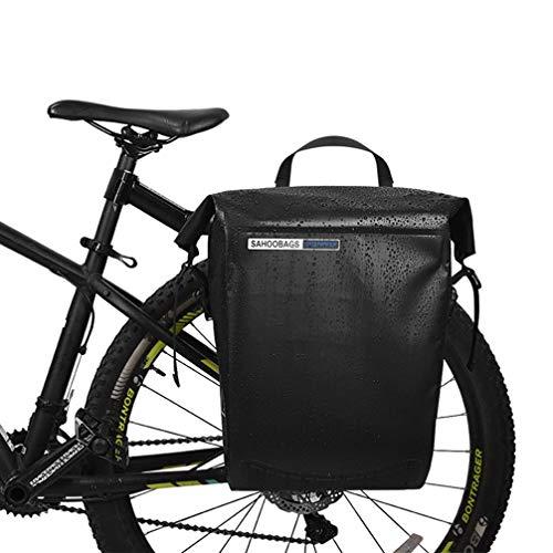 YUYAXBG Modieuze fietspaden, waterdicht lichtgewicht fietstas, enkele fiets achterbank kofferbak, grote capaciteit fietspadenzak, anti-kras, zwart, zwart
