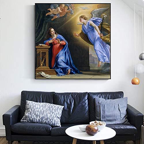 ZYBKOG Leinwandbild Die Geburt Jesus Vorausgesagt Berühmte Leinwand Gemälde Reproduktionen Christian Wandkunst Leinwanddrucke Leinwandbil