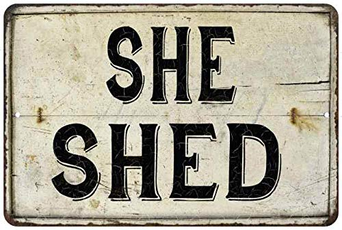 Chico Creek Signs She Shed Sign Vintage Decor Wall Signs Decorations Art Lady Cave Diva Den Hanging Door Tin Sheds Woman Girl Home 8x12 Metal 208120068005