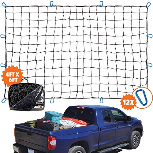 "4'x6' Super Duty Truck Cargo Net for Pickup Truck Bed Stretches to 8'x12' | 12 Tangle-free [STEEL] Carabiners | Small 4""x4"" [LATEX] Bungee Net Mesh Holds Small and Large Loads Tighter"