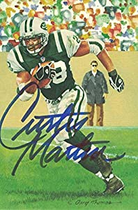 Curtis Martin Autographed/Signed New York Jets Goal Line Art Card Blue 12271 - NFL Autographed Football Cards